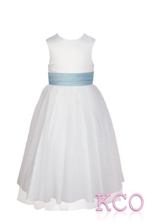 Style FJD922~ Pleat Sash Dress White/Blue